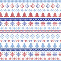 Dark and light blue and red Christmas Nordic pattern with snowflakes, trees , xmas trees and decorative ornaments in scandinavian