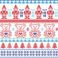 Dark and light blue , red Scandinavian inspired Nordic xmas seamless pattern with elf, stars, teddy bears, snow,christmas  trees, Royalty Free Stock Photo