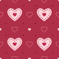 Dark and light pink seamless heart vector pattern