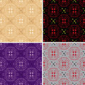 Dark and light seamless floral patterns - vector Stock Image
