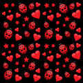 Dark love pattern with ladybug and stars seamless red ladybirds hearts Royalty Free Stock Photo