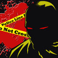 Dark masked man at the crime scene comic book style illustration Stock Photo