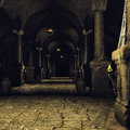 Dark medieval corridor with columns and torches Royalty Free Stock Images