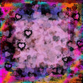 Dark moody grunge hearts abstract background valentines day in pink black red purple turquoise gold and orange extreme passion Stock Photo