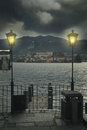 Dark and mysterious san giulio island in orta lake piedmont italy Stock Image