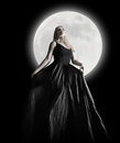 Dark Night Moon Girl with Black Dress Stock Images