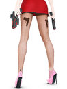 Dark nylon tights with guns and bullets.