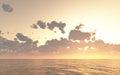 Dark orange sunset or sunrise sea waves bright colorful background Royalty Free Stock Photo