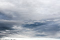 Dark overcast sky with grey clouds during rainy day Royalty Free Stock Photo