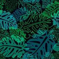 Dark pattern with neon palm leaves Royalty Free Stock Photo