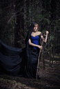 Dark portrait of the forest keeper. Fantasy and Royalty Free Stock Photo