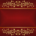 Dark red background with golden ornaments Stock Image