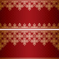 Dark red card with gold vintage ornament vector Royalty Free Stock Photo