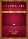Dark red certificate diploma template of completion design background with floral pattern gold border frame insignia useful for Stock Image