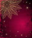 Dark red grungy christmas frame with gold snowflake and stars vector Stock Photo