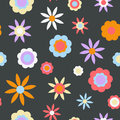 Dark retro flower background a colorful seamlessly repeatable Royalty Free Stock Image