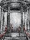 Dark rotunda with roses Royalty Free Stock Photo