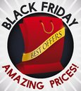 Button with Red Shopping Bag and Ribbon for Black Friday, Vector Illustration Royalty Free Stock Photo