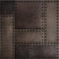 Dark rusty metal plates with rivets seamless background or texture Royalty Free Stock Photo