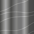 Dark seamless glossy ripple pattern with silwer wavy lines. Trendy vector texture. Stylish background with diagonal