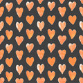 Dark seamless pattern of red hearts hand drawn Stock Images