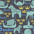 Dark seamless pattern with symbols of Sweden Stock Photo