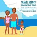 Tmavý kože rodina na stredisku vektor cestovať pohľadnice