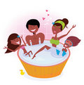 Dark skin family with two children in bath tub Royalty Free Stock Image