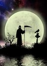 Dark sky with grim reaper fantasy moonscape a surreal background the silhouette and a crow on a tombstone and the moon reflecting Stock Photography