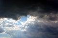Dark Sky With Sun Rays Through...