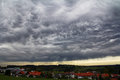 Dark storm clouds over a city Royalty Free Stock Photo