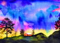 Dark stormy sky vibrant watercolor painting with a house trees and rolling hills Stock Images