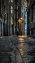 Dark street a in the early morning Stock Photography