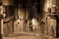 Dark street in night, Istanbul Royalty Free Stock Images