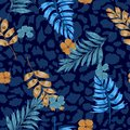 Dark summer Tropical summer floral safari leaves on exotic animal skin leopard prints ,hand drawn style background. Seamless Royalty Free Stock Photo