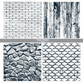 Dark texture brick wall, wood, stone wall, cast iron grid Royalty Free Stock Photo