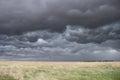 Dark, turbulent sky over prairie grass Royalty Free Stock Photo