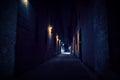 Dark Urban City Alley at Night Royalty Free Stock Photo