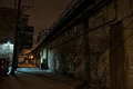 Dark Urban City Alley at Night Royalty Free Stock Photo