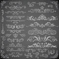 Dark Vector set of Swirl Elements for Frame Design. Calligraphic page decoration, Labels, banners, antique and baroque Royalty Free Stock Photo