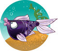 Dark violet  Fish on the bacground Stock Photos