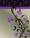 Dark violet floral invitation card with purple flowers Stock Photos