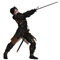 Dark Warrior Swinging a Sword Stock Photos