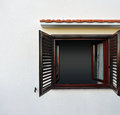 Dark window on white wall opened Royalty Free Stock Images