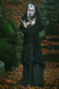 Dark witch posing in the woods horror and halloween conceptual Stock Images