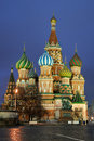 Darken blue skies over st basil s cathedral beautiful view of the most famous moscow russia attraction when gets dark magnificent Stock Photography