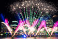 Darling Harbour fireworks during annual light festival Vivid Syd Royalty Free Stock Photo