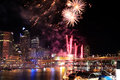 Darling harbour fireworks at sydney australia Stock Photos