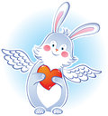 Darling rabbit with wings vector illustration Stock Photography