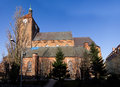 Darlowo church poland most famous landmark of gothic panorama with the town hall at the right high detail photography stitched Royalty Free Stock Image